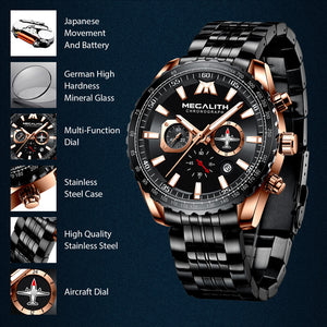 8212M | Quartz Men Watch | Stainless Steel Band-megalith watch