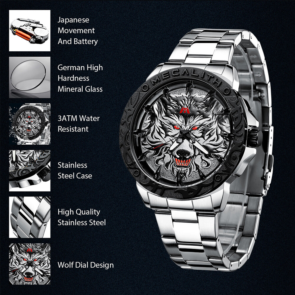 8207M | Quartz Men Watch | Stainless Steel Band-megalith watch