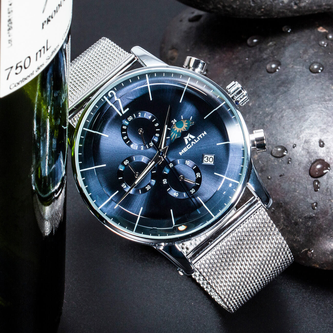 8088M | Quartz Men Watch | Mesh Band-megalith watch