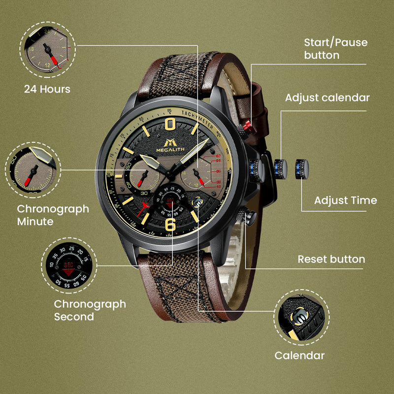 8083M | Quartz Men Watch | Leather Band-megalith watch