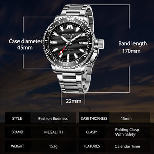 8214M | Quartz Men Watch | Stainless Steel Band-megalith watch