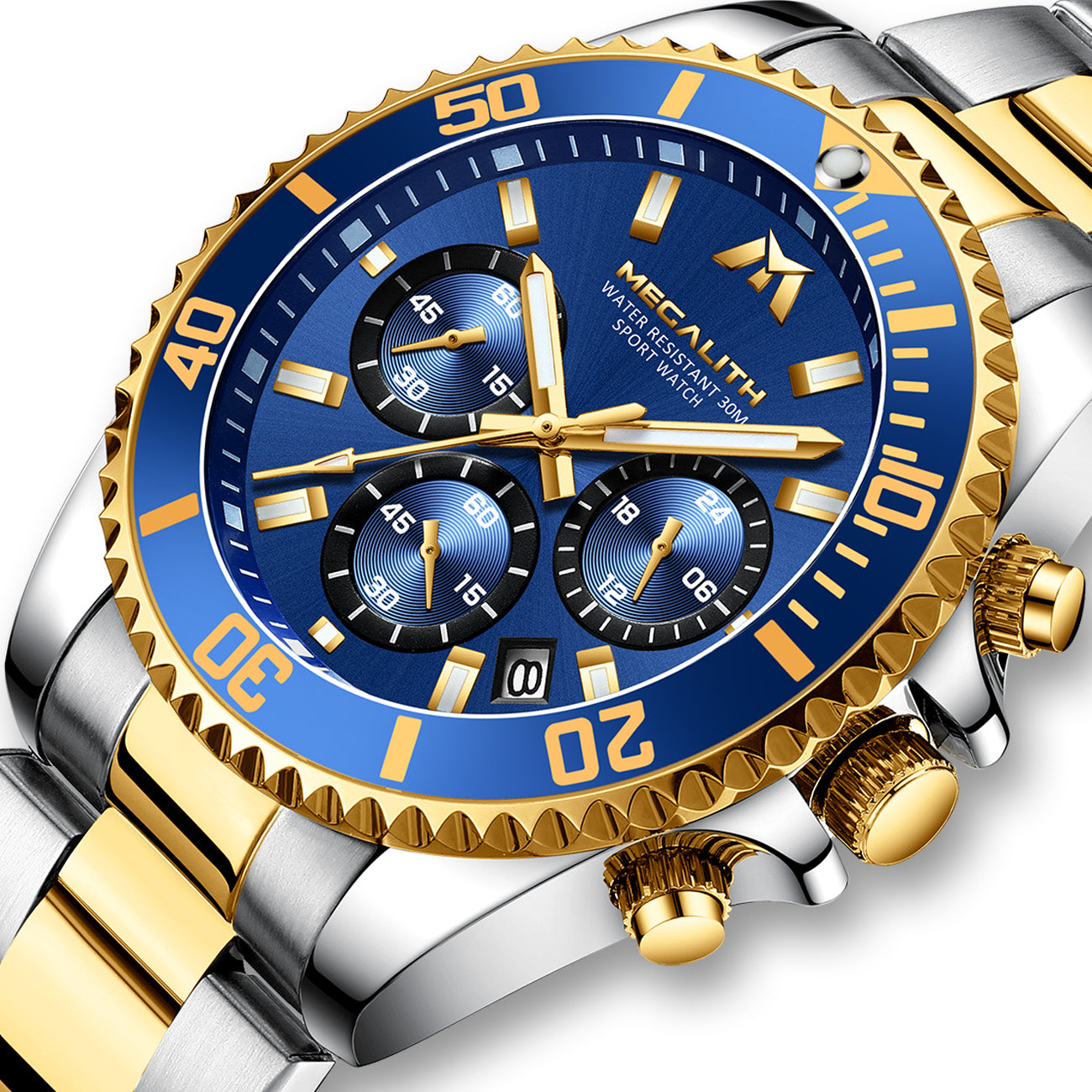 MEGALITH Mens Watches Men Designer Chronograph Blue Gold Waterproof Luminous Stainless Steel Wrist Watch Military Large Date Analogue Watches for Men-megalith watch
