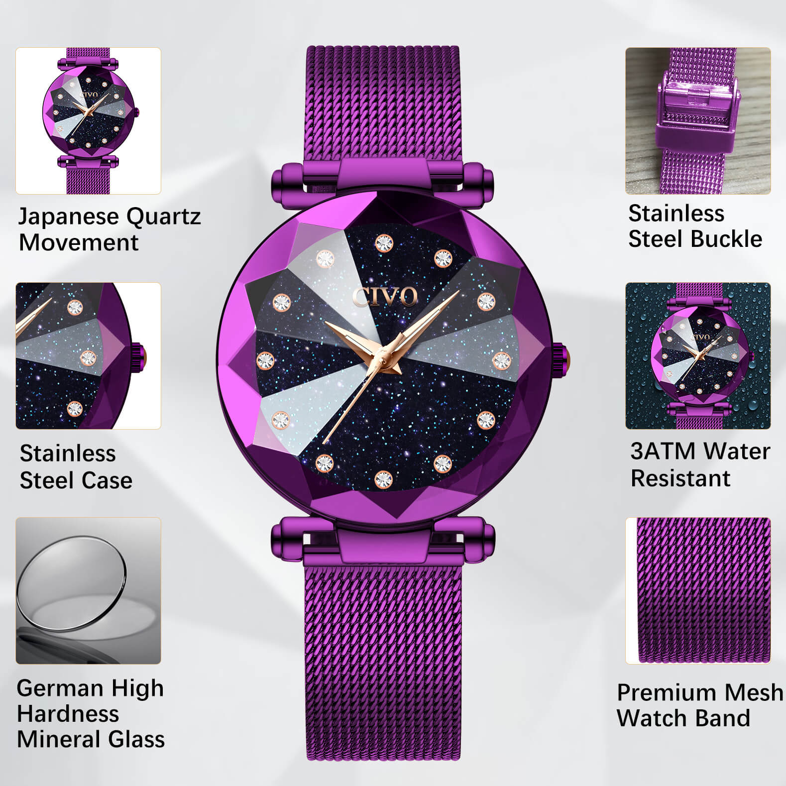 8064C | Quartz Women Watch | Mesh Band-megalith watch