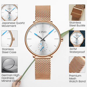 0124C | Quartz Women Watch | Mesh Band-megalith watch