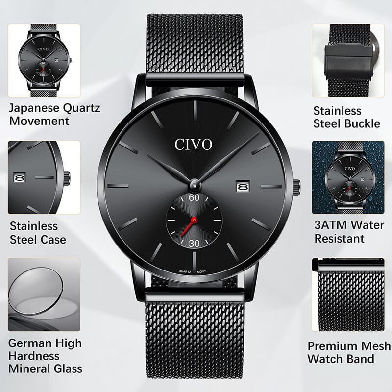 8035C | Quartz Men Watch | Mesh Band-megalith watch