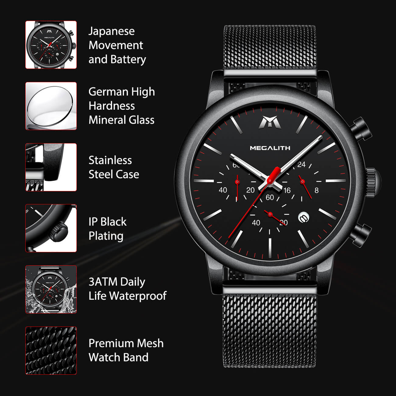 8040M | Quartz Men Watch | Mesh Band-megalith watch