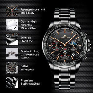 8091M | Quartz Men Watch | Stainless Steel Band-megalith watch