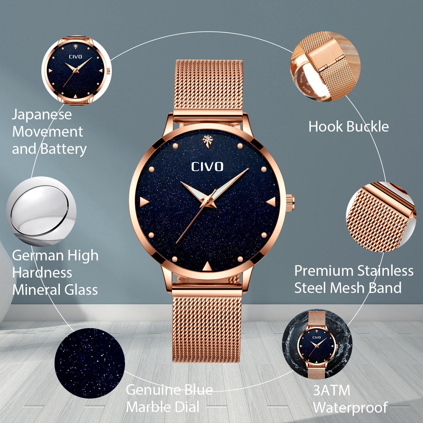 8002C | Quartz Women Watch | Mesh Band-megalith watch