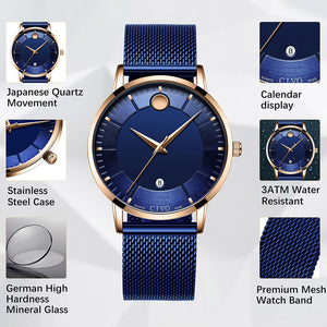 8077C | Quartz Men Watch | Mesh Band-megalith watch
