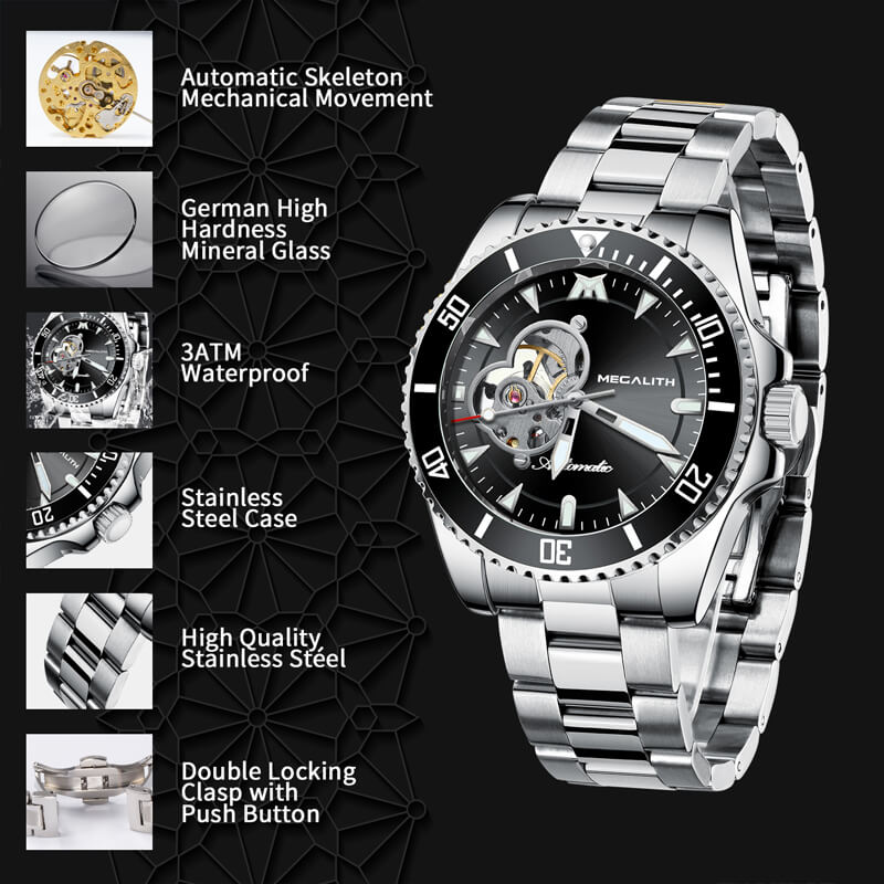 8209M | Mechanical Men Watch | Stainless Steel Band-megalith watch