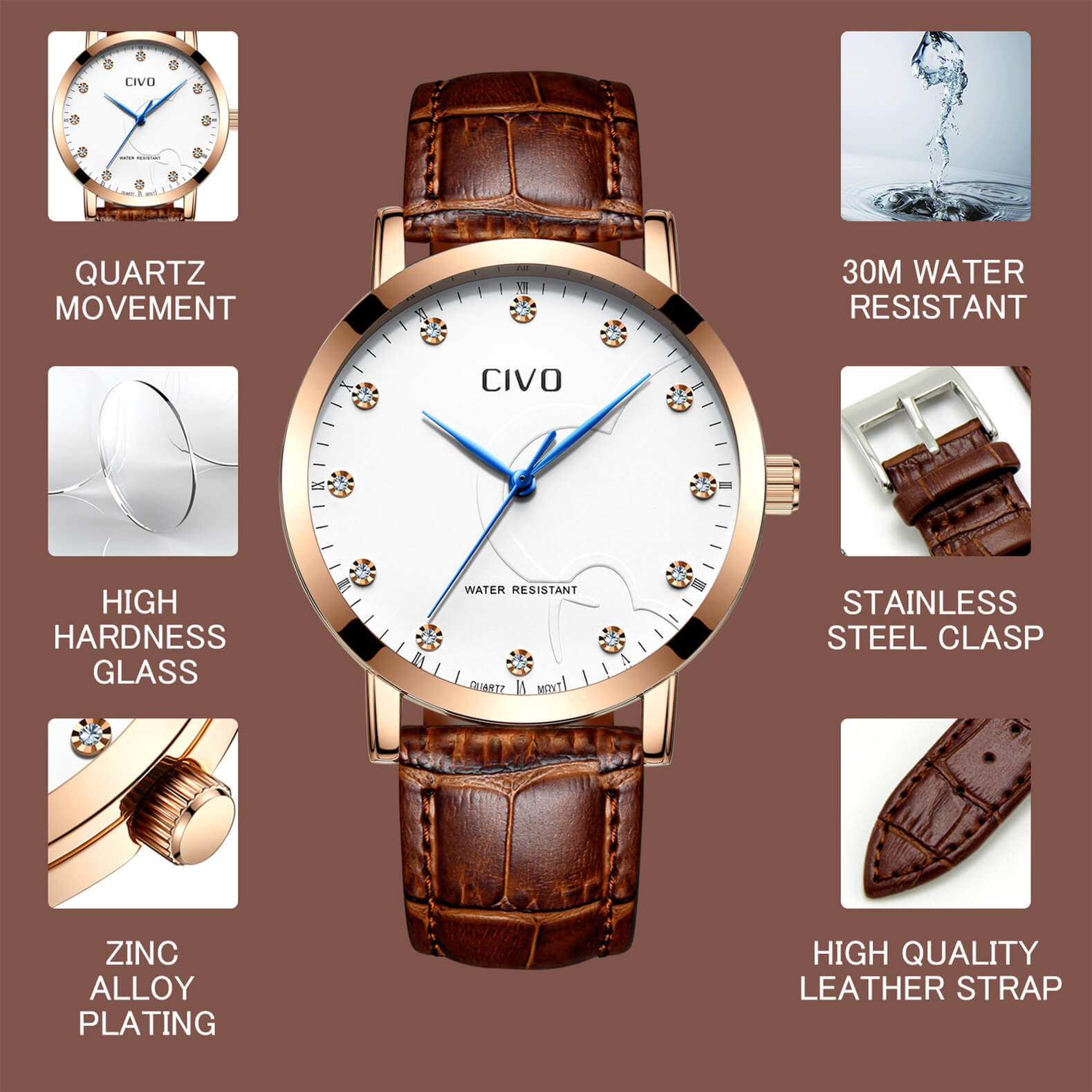 2047C | Quartz Women Watch | Leather Band-megalith watch