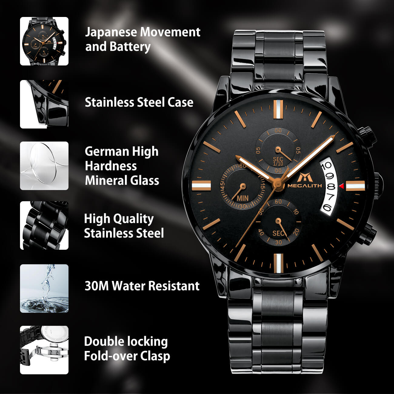 0105M | Quartz Men Watch | Stainless Steel Band-megalith watch