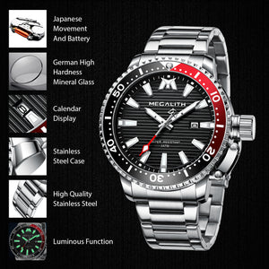MEGALITH Mens Watches Men Designer Luminous Waterproof Stainless Steel Wrist Watch Big Face Date Calendar Business Fashion Casual Dress Analogue Watches for Man-megalith watch