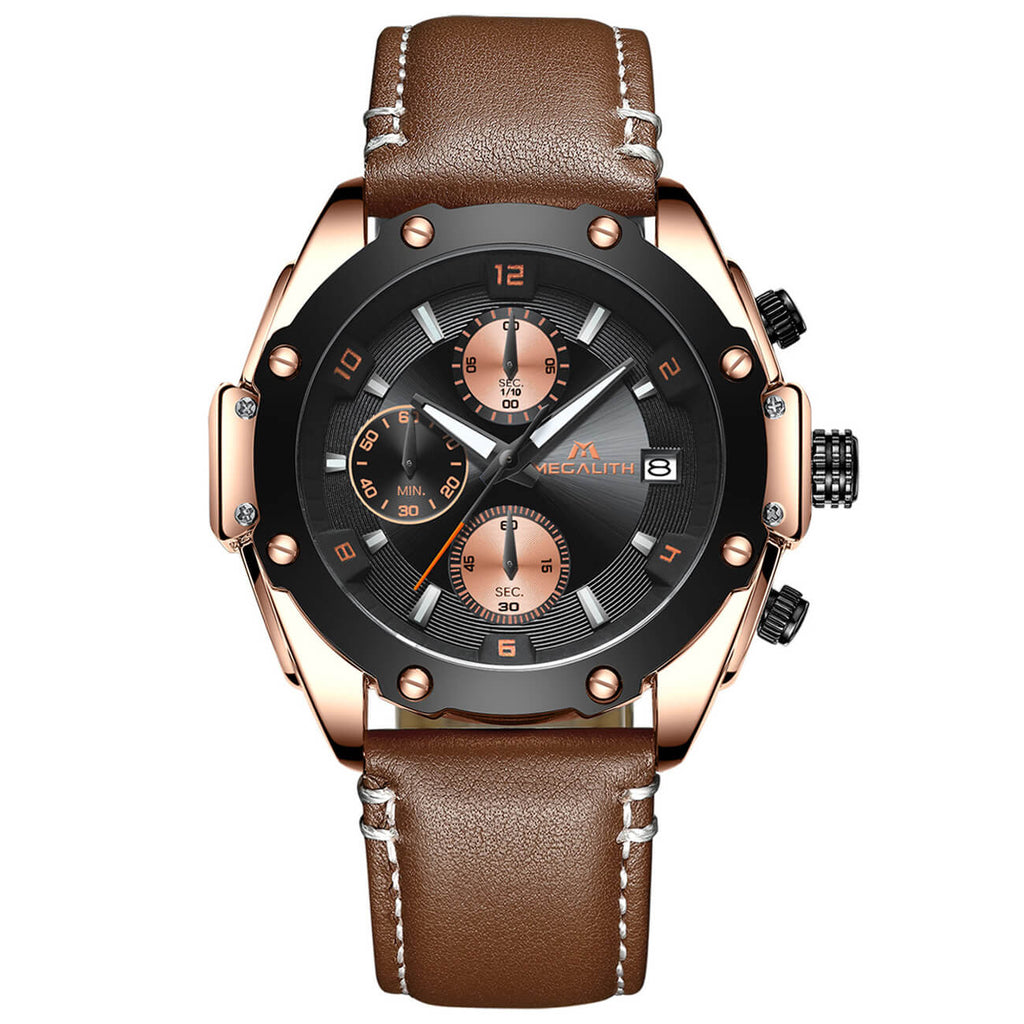 8031M | Quartz Men Watch | Leather Band-megalith watch