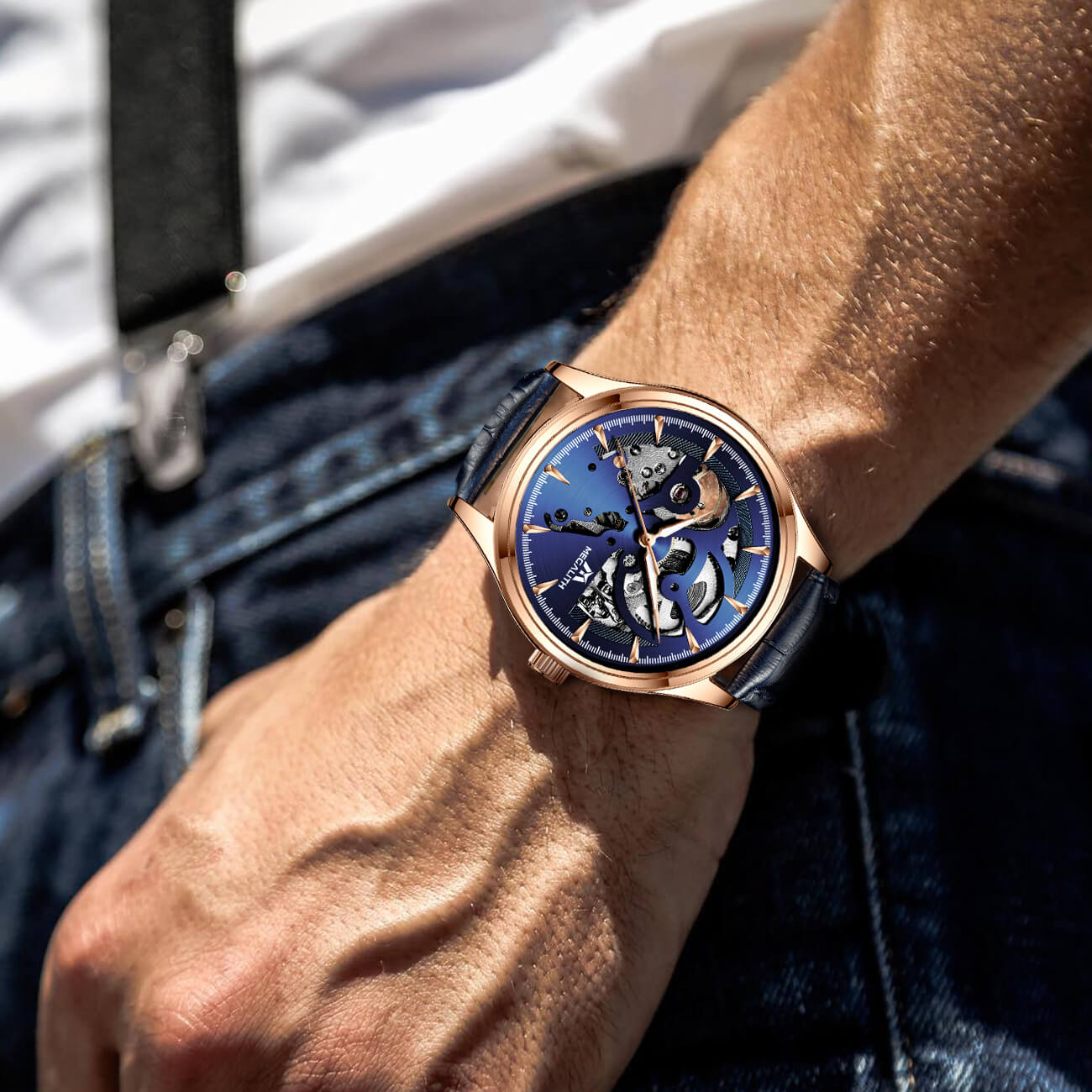 8078M | Mechanical Men Watch | Leather Band-megalith watch