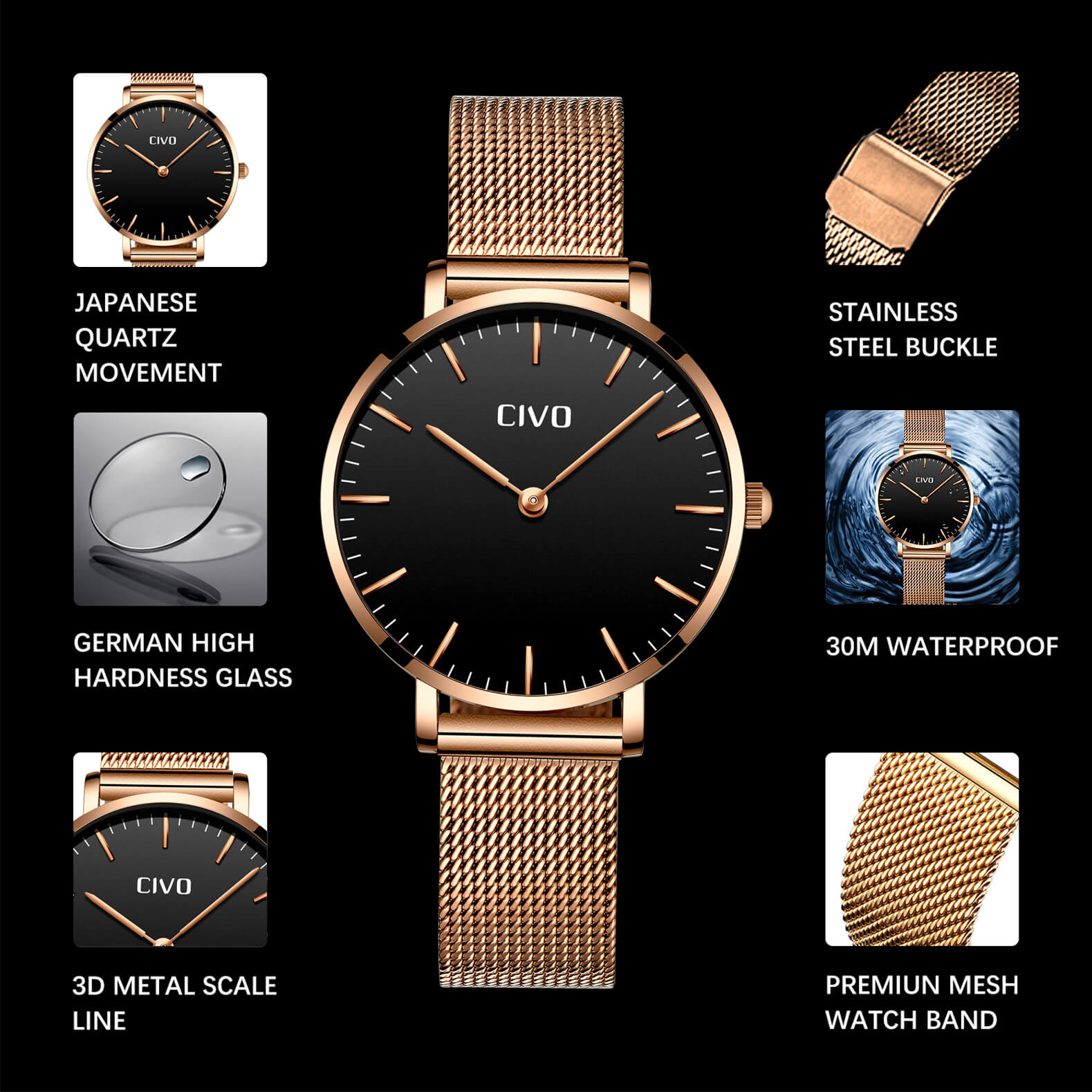 8011C | Quartz Women Watch | Mesh Band-megalith watch