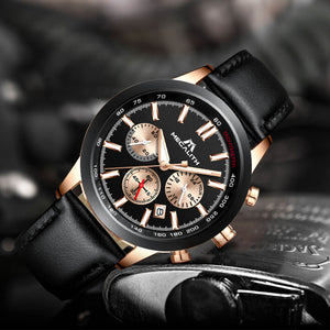 8015M | Quartz Men Watch | Leather Band-megalith watch
