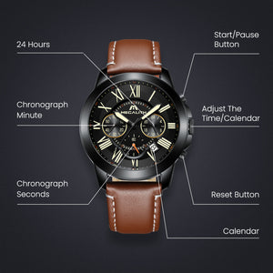 8014M | Quartz Men Watch | Leather Band-megalith watch