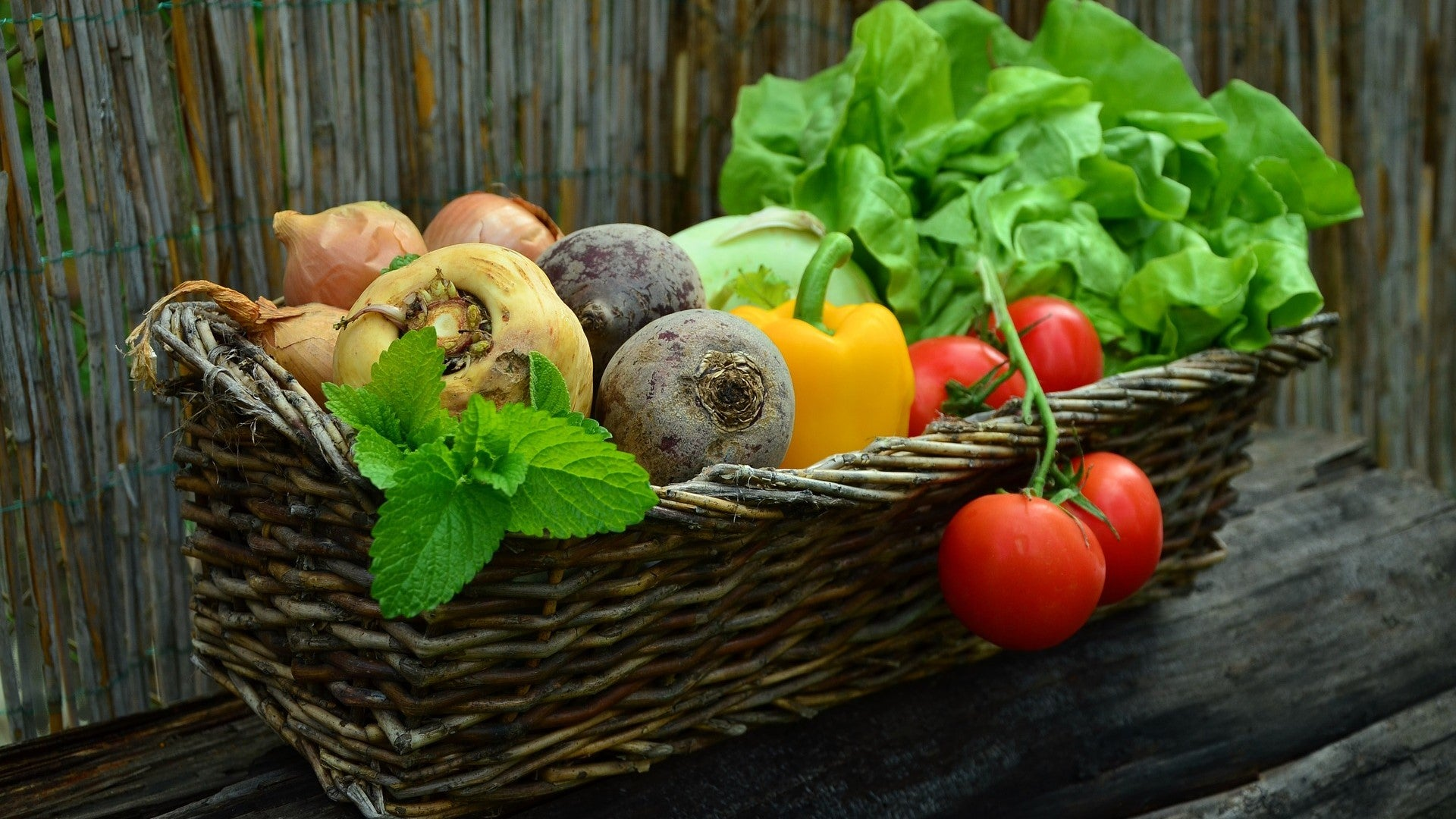 Basket Full Of Garden Vegetables