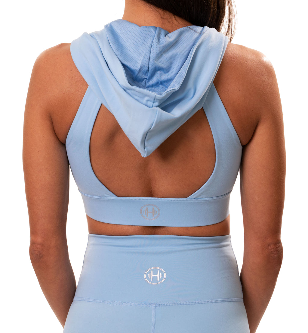 BLUE HOODED SPORTS BRA