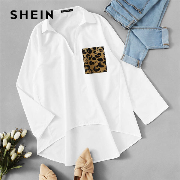 SHEIN Patched Leopard Pocket Dip Hem Blouse Women Clothes 2019 Spring Casual Long Sleeve Ladies Tops Solid Loose Blouses