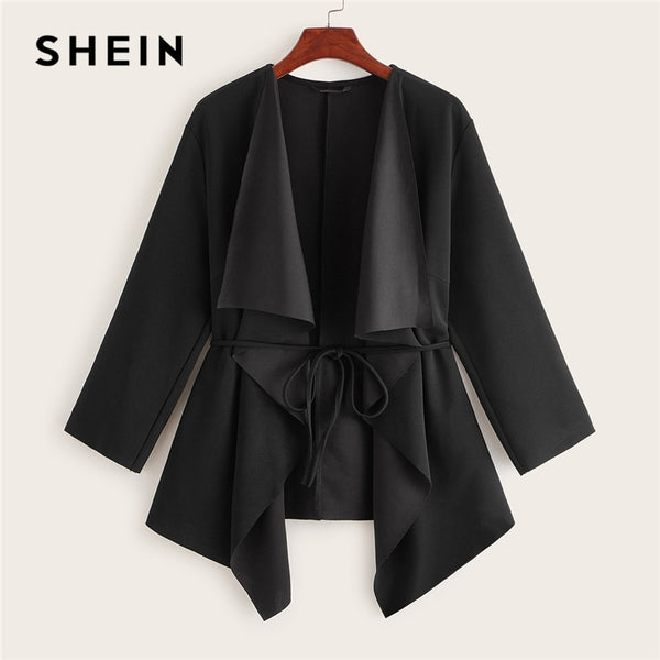 SHEIN Black Waterfall Collar Asymmetrical Hem Coat With Belt Women Coats 2019 Autumn Solid 3/4 Length Sleeve Casual Outerwear