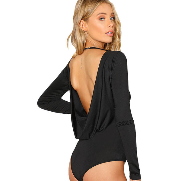SHEIN Black Backless Solid Skinny Bodysuit Round Neck Open Back Long Sleeve Draped Plain Women Rompers 2018 Sexy Bodysuit