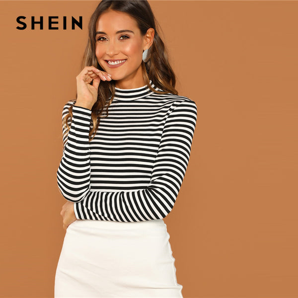 SHEIN Modern Lady Black and White Slim Fit Mock Neck High Neck Striped Rib Knit T-shirt 2018 Autumn Campus Women Tshirt Top