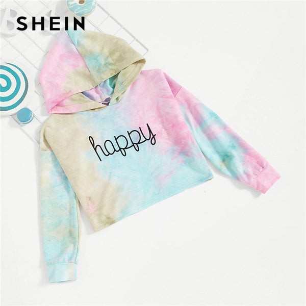 SHEIN Kiddie Letter Happy Print Tie Dye Cute Hoodies For Girls Tops 2019 Spring Korean Fashion Long Sleeve Sweatshirts For Girls