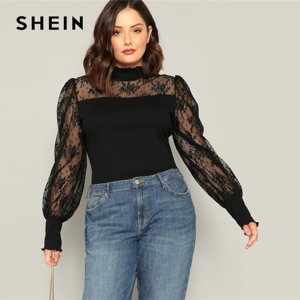 SHEIN Plus Size Black Mesh Puff Long Sleeve Stand Collar Women Casual T Shirt 2019 Spring Elegant Solid Tops Tee