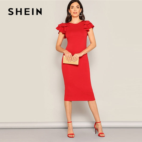SHEIN Red Layered Ruffle Sleeve Crisscross Back Bodycon Dress Women Summer Elegant Sleeveless Solid Slim Midi Party Dress