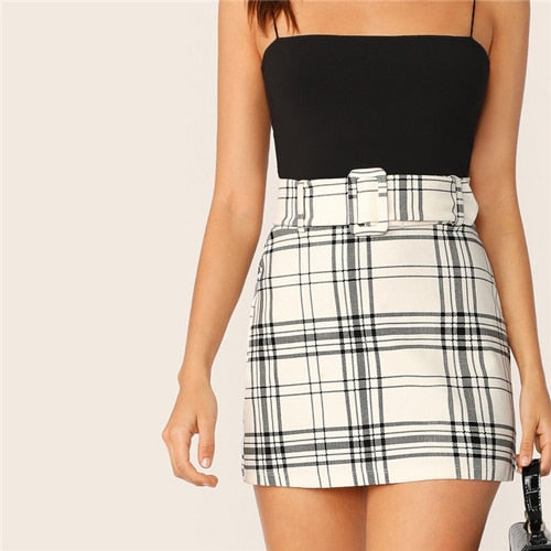 SHEIN Ladies White Buckle Belted Plaid Skirt Korean Style Women Preppy High Waist Skirt Stretchy Spring Summer Mini Skirt