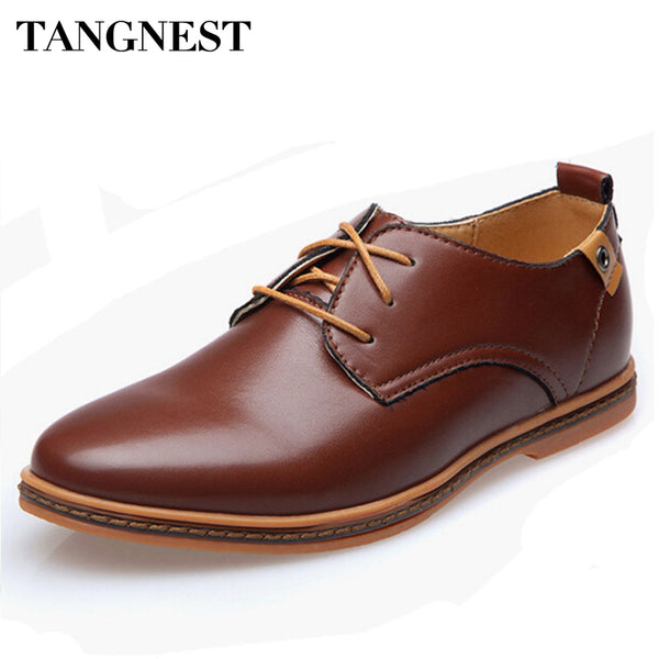 Tangnest 2017 New British Style Shoes Men PU Leather Dress Shoes Solid Lace-up Male Flat Oxfords Shoe Man Plus Size 38~48 XMP329 - Next New Fashion