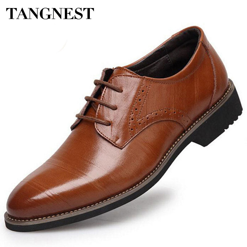 Tangnest 2017 High-Quality Men Shoes Fashion Split Leather Men Business Flats Casual Lace-Up Bullock Oxfords Shoes Man XMP367 - Next New Fashion