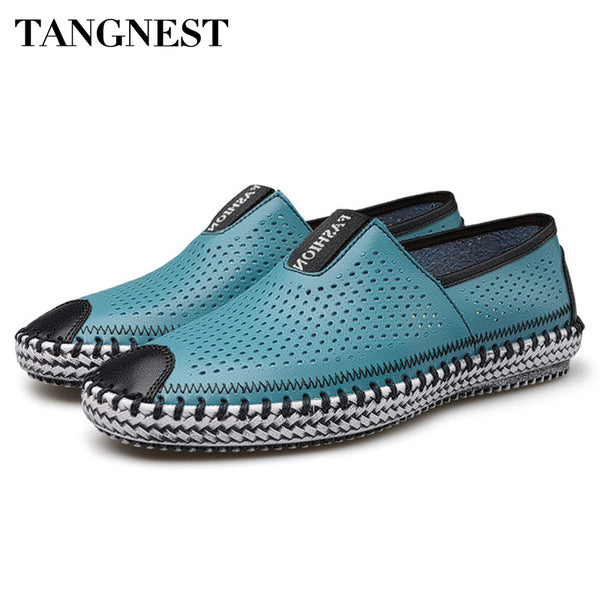 Tangnest 2017 New Spring&Summer Men's Casual Shoe British Breathable Peas Shoe Men's Genuine Leather Slip On Lazy Loafer XMR1395 - Next New Fashion