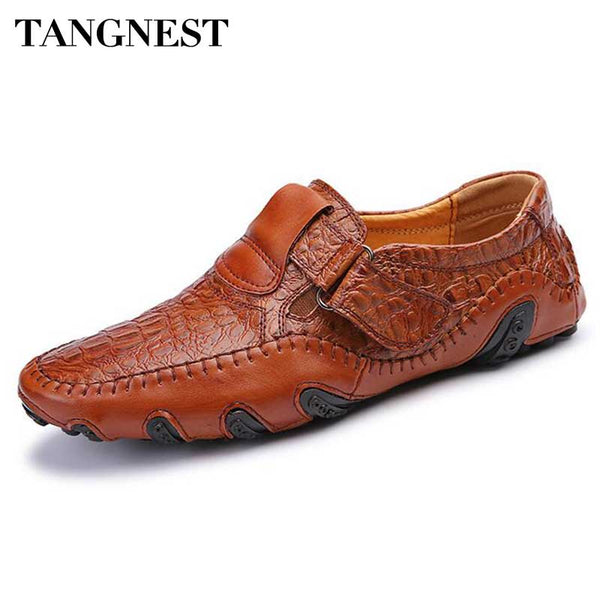 Tangnest Brand Men Genuine Leather Flats 2017 New Casual Boat Shoes Male Leisure Dress Shoes Man Soft Loafers Size 38~47 XMP742 - Next New Fashion
