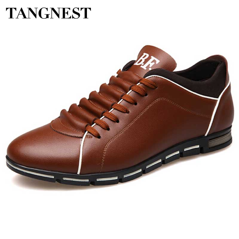 Tangnest Luxury Brand Men Dress Shoes Handmade Leather Casual Shoes Men British Style Lace-up Flats 5 Colors Man Flats XMR1935 - Next New Fashion