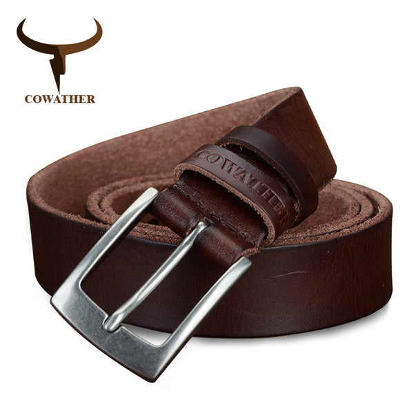 COWATHER top cow genuine leather men belts 2017 newest arrival three color hot design jeans belt for male original brand - Next New Fashion