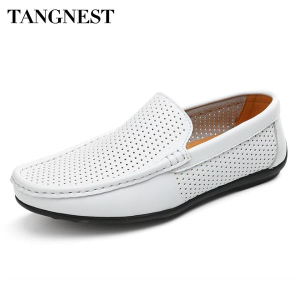 Tangnest NEW Split Leather Men's Shoes Casual Cut-out Breathable Loafers For Male Driving Shoes Comfortable Moccasins  XMR2657 - Next New Fashion