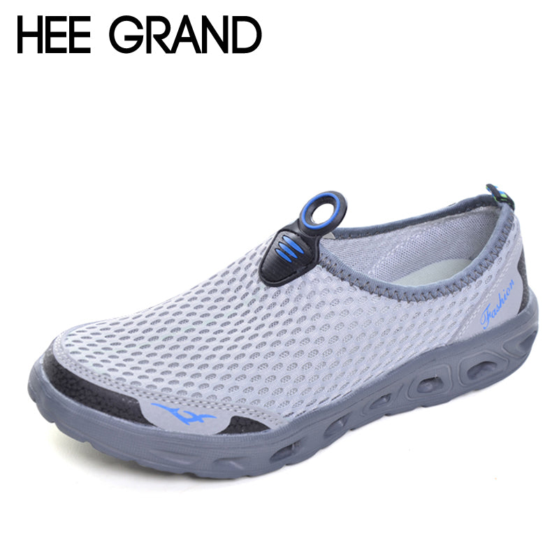 HEE GRAND Casual Men Shoes 2017 Mesh Summer Style Solid Man Flats Loafers Breathable Slip-on Shoes Size Plus 39-45 XMR1619 - Next New Fashion