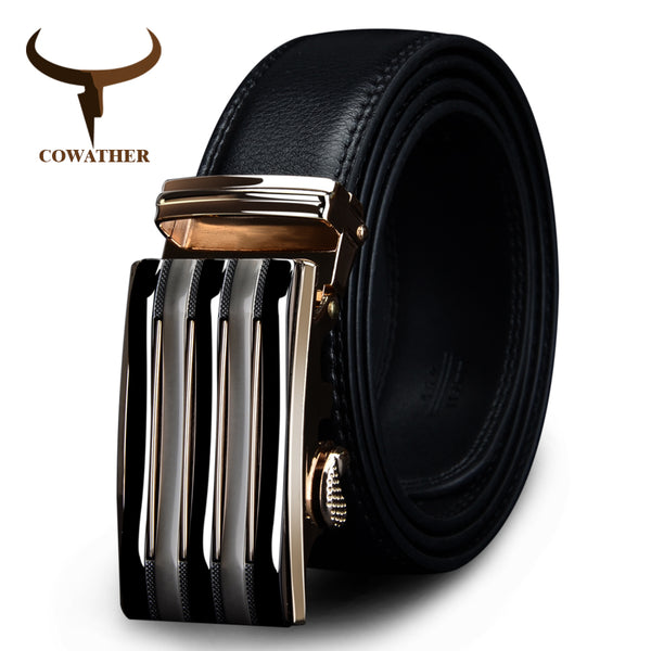 COWATHER 2017 luxury men`s genuine leather belts for men automatic alloy buckle big size top quality 110-130cm cz030 huaqiang - Next New Fashion