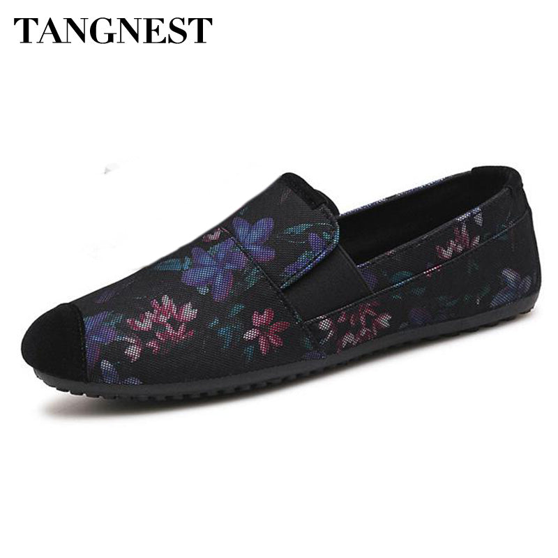 Tangnest New Fashion Flower Printed Flats Shoes For Male Casual Mesh Slip-on Loafers Suede Leather Toe Low Toe Shoes Man - Next New Fashion