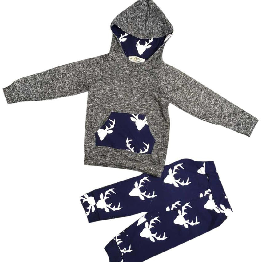 Boy Deer Sweater Hoodie set  Toddler Kids Baby Boy Girl Clothes Deer Hooded Tops Jacket +Pants Outfits Drop ship - Next New Fashion