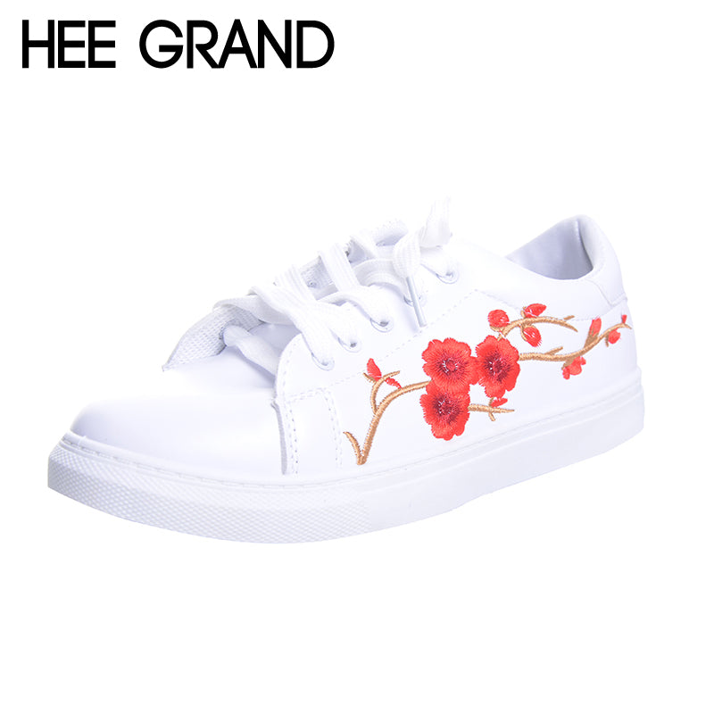 HEE GRAND Embroidered Women Casual Shoes Lace-up Floral Fashion Vulcanize Shoes All-match Spring White Shoes XWB119 - Next New Fashion