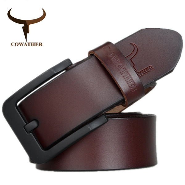 COWATHER male belt for mens high quality cow genuine leather belts 2017 hot sale strap fashion new jeans Black Buckle XF010 - Next New Fashion