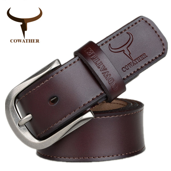 COWATHER 2017 fashion pin buckle cow genuine leather mens belt for men three colors male vintage jeans cowskin belts good route - Next New Fashion