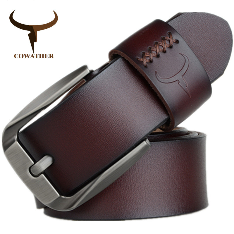 COWATHER Vintage style pin buckle cow genuine leather belts for men 130cm high quality mens belt cinturones hombre free shipping - Next New Fashion