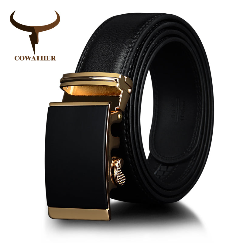 COWATHER Cow Leather men belts Gold Automatic Ratchet Buckle Fashion Luxury Dress belts for men Waist 30-44 BROWN BLACK CZ049 - Next New Fashion