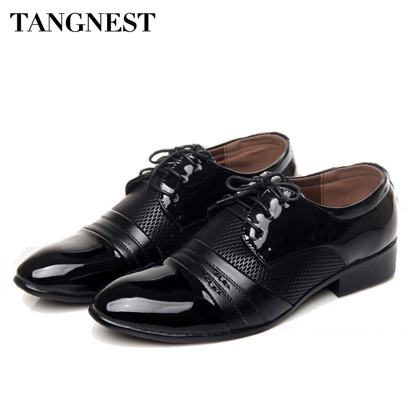 Tangnest 2018 Classical Men Dress Shoes Vintage Men's Oxfords Flats Black Brown Leather Business Shoes Man Big Size 38~45 XMP418 - Next New Fashion