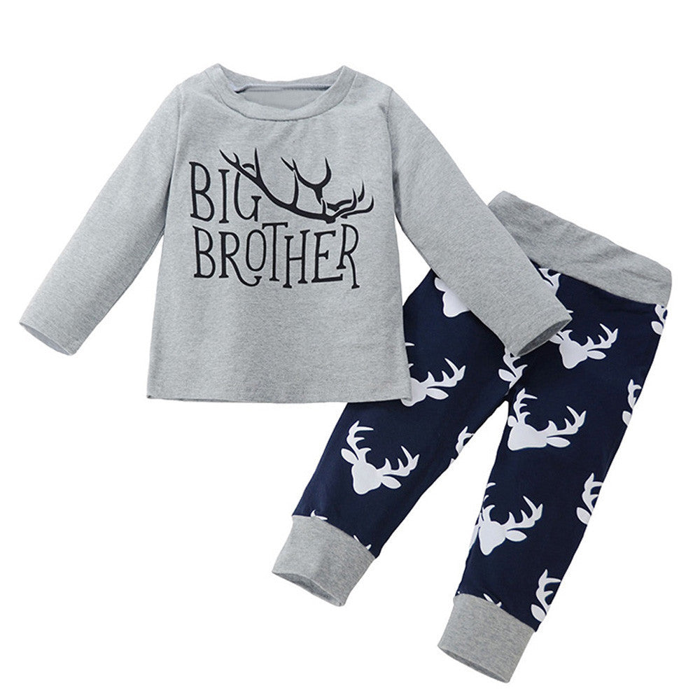 2PCS Newborn Infant Baby Clothes Bebes Boys Girls Deer T-shirt Tops + Trousers Pant Outfit Toddler Kids Clothing Set - Next New Fashion
